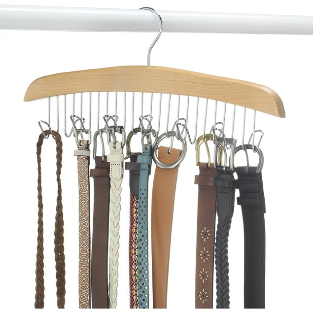 """Whitmor Natural Wood Collection Belt Hanger, 1.75"""" (L) x 16.952"""" (W) x"""