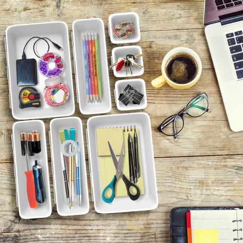 8 Pc. Drawer Organizer Bin  Space Saver Plastic Stacking
