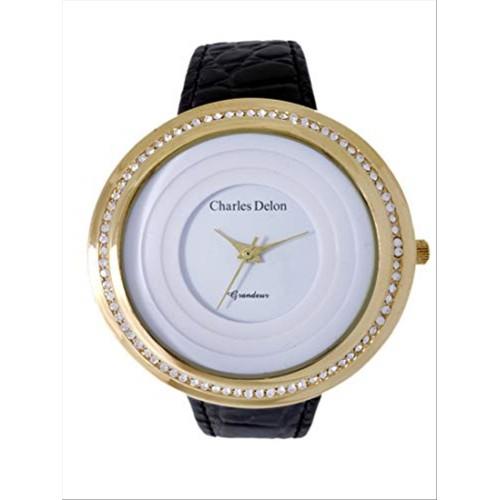 Charles Delon Women's Watches 5480 LGWB Black/Gold Leather Quartz Round Analog