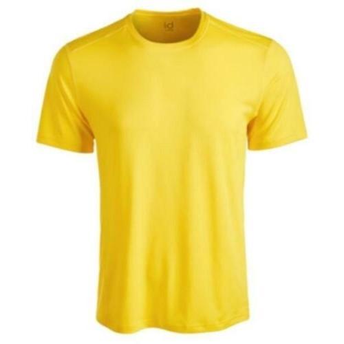 ID Ideology Men's Core Crew Neck Mesh-Back T-Shirt Yellow Size Medium