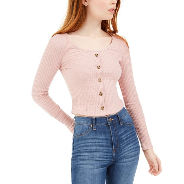 Hippie Rose Juniors' Pointelle Crop Top Pink Size Extra Large