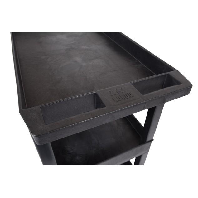 "Luxor 32""W x 18""D Mobile 3 Shelf Utility Storage Tub Cart - Black, 3 Pack"