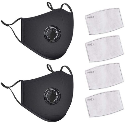 2-Pack Reusable Cotton Face Masks with Breathing Valves & 4 Filters
