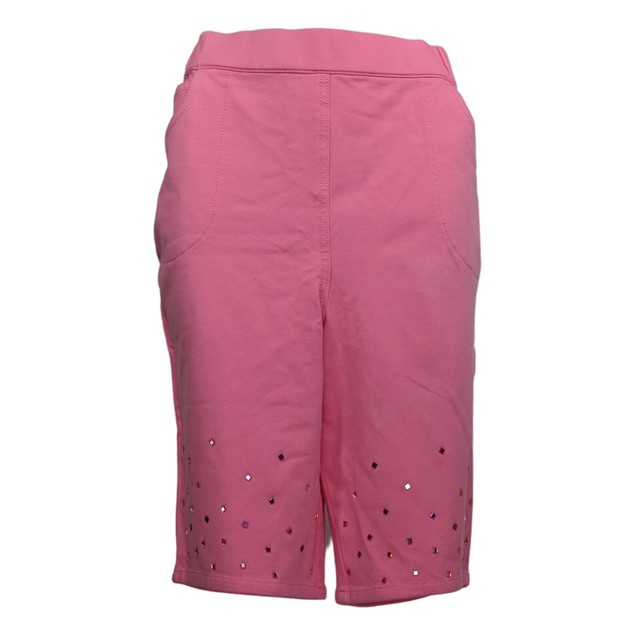 Quacker Factory DreamJeannes Pull-On Shorts w/ Bling Stones, Small Size,
