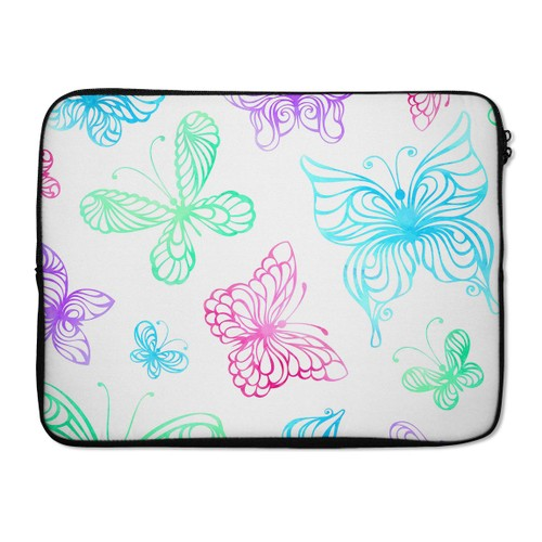 "EmbraceCase 17"" Ink-Fuzed Laptop Sleeve - Vivid Vector Butterflies"
