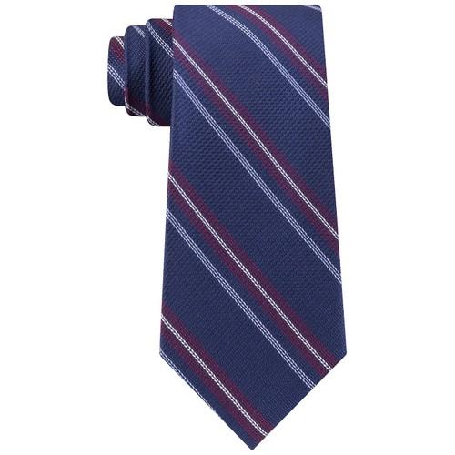 Tommy Hilfiger Men's Classic Textured Stripe Tie Navy - One Size