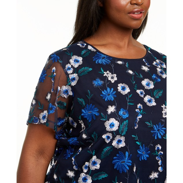 Calvin Klein Women's Plus Size Embroidered Floral Top Black Size 1X