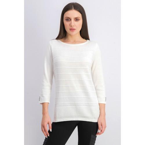 Karen Scott Women's Ribbed 3/4-Sleeve Sweater Natural Size Medium