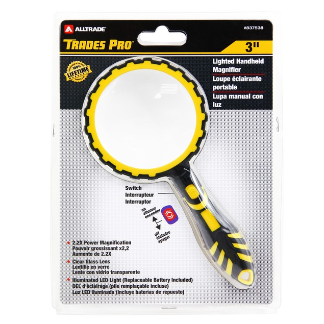 Trades Pro Lighted 3-Inch Round Magnifier - 837538