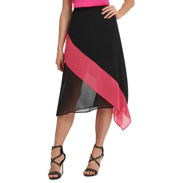 DKNY Women's Colorblocked Asymmetrical Skirt Black Size Small