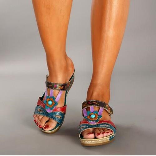 Women's Sandals Plus Size Ethnic Flower Sandals