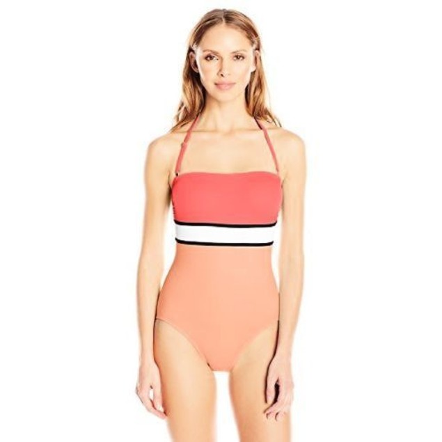 Vince Camuto Women's Beach Front Bandeau Maillot, Coral Sugar, SIZE 8