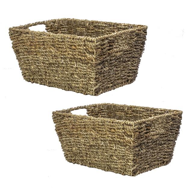 Natural Seagrass Storage Basket   MandW Set of 2