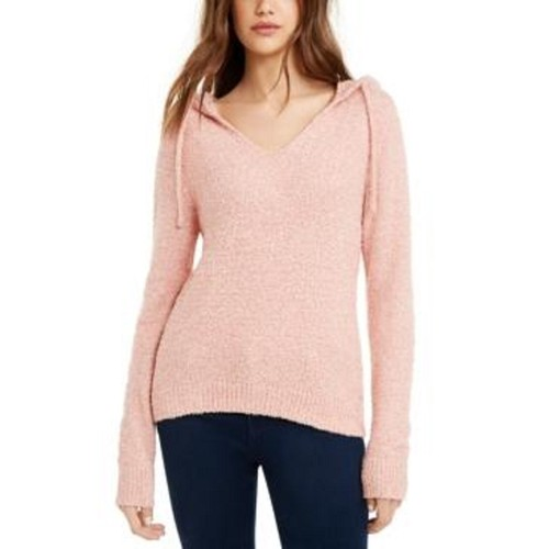 Crave Fame Juniors' Marled Fuzzy Pullover Hoodie Pink Size Small