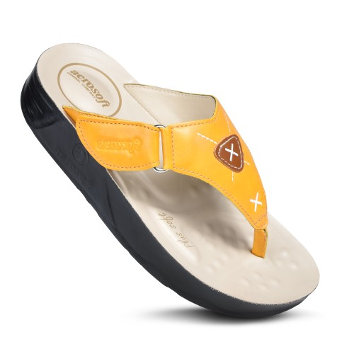AEROSOFT Voyagee Arch Supportive Adjustable Thong Strap Platform Sandals For Women
