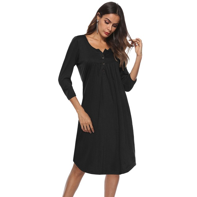 Long Sleeve Henley Dress