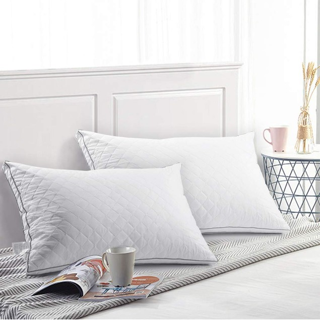 VECELO Queen Size Luxury Quilted Bed Pillows for Sleeping (Set of 2)