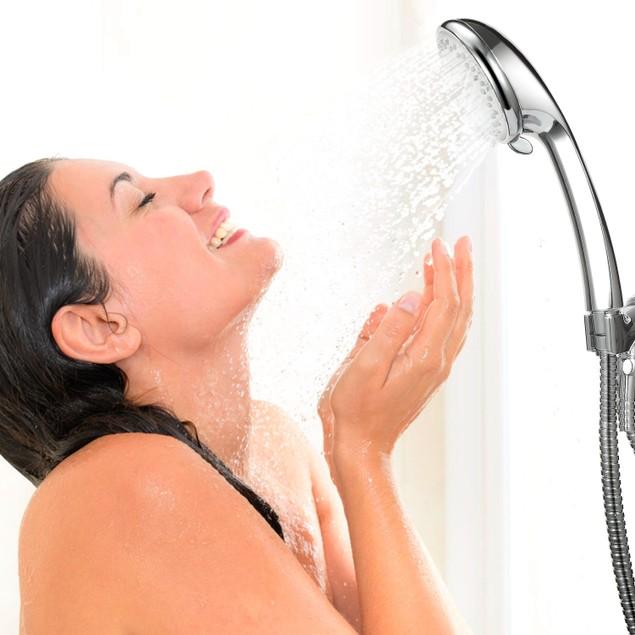 Stainless Steel Handheld Shower Head with 5 Spray Settings 5ft Steel Hose