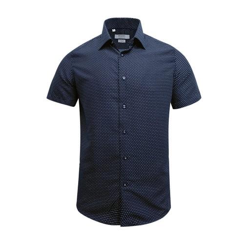 Monza Modern Fit Short Sleeve Navy Herringbone Dress Shirt