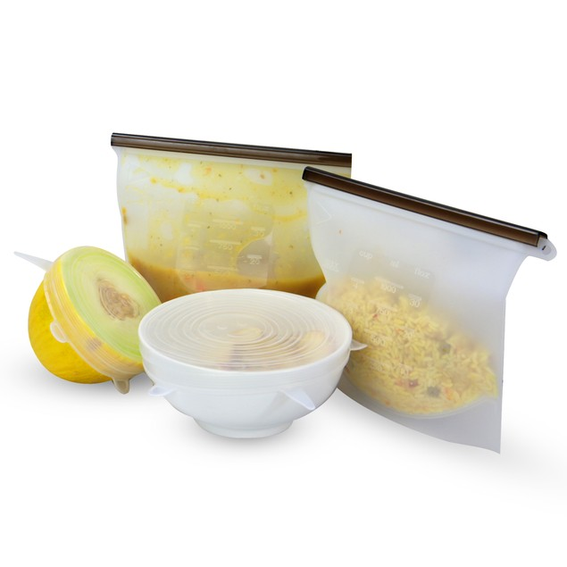 Reusable Food Storage Bags and Lids - Set of 12 | MandW