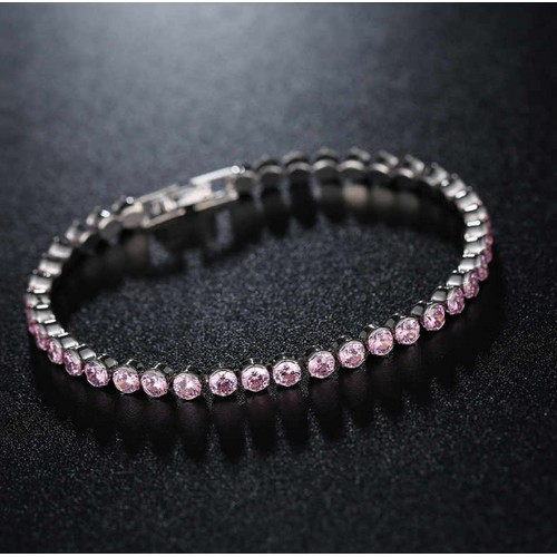 White Gold Plated Pink Sapphire Tennis Bracelet