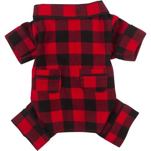 """Fab Dog Flannel Dog Pajamas, 24"""" Length, Buffalo Check"""