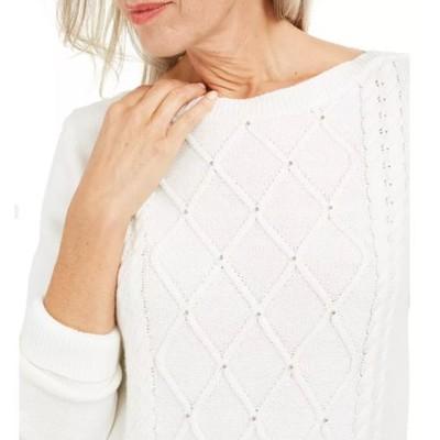 Karen Scott Women's Cable Knit Beaded Sweater White Size X-Large