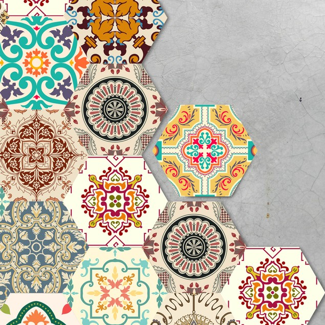 10pcs/lot Waterproof Tile Hexagon Stickers DIY Self Adhesive