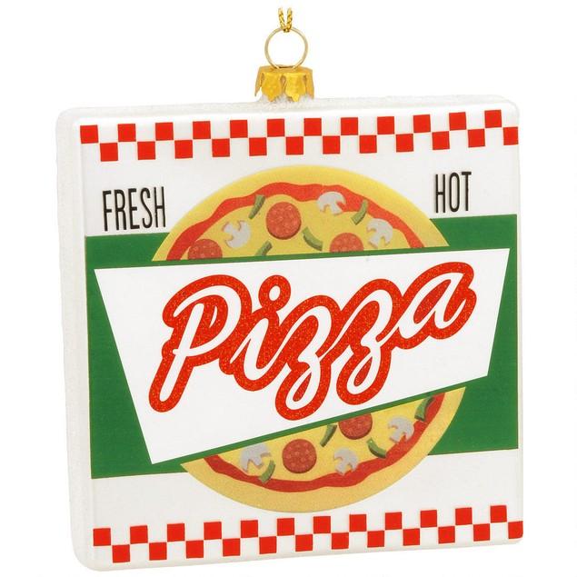 Pizza Box Christmas Tree Ornament Xmas Funny Italian Food Holiday Glass