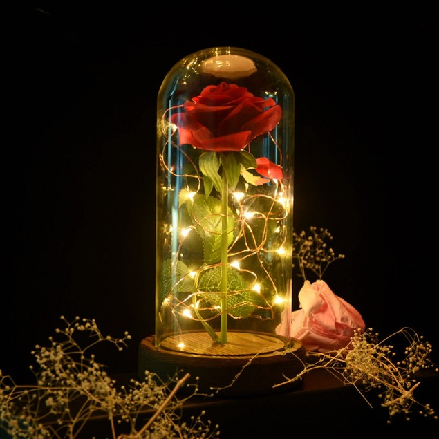 Light Up Enchanted Rose In Glass Dome On Wood Base