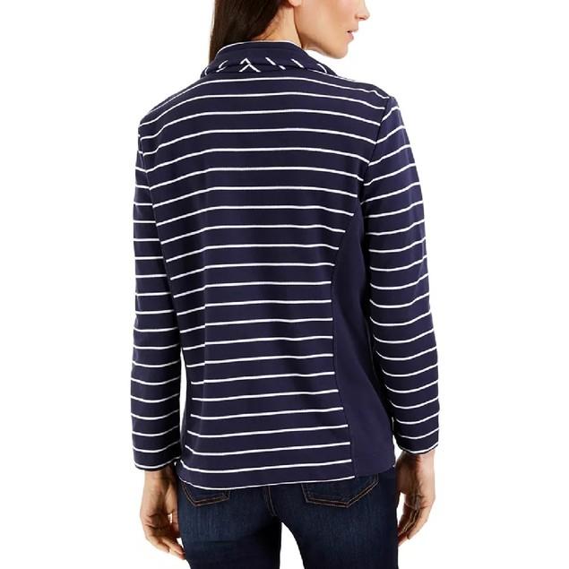 Karen Scott Women's Sport French Terry Striped Jacket Navy Size Medium