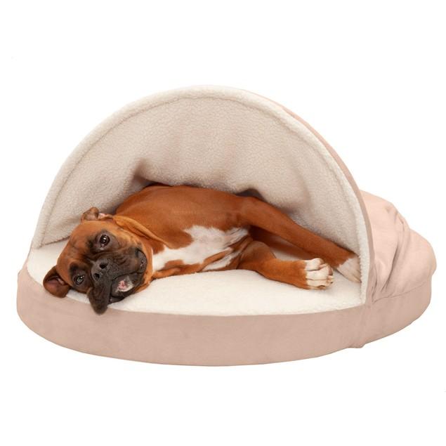 FurHaven Memory Foam Round Faux Sheepskin Snuggery Burrow Pet Bed