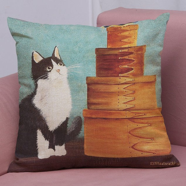 Cute Cat Sofa Bed Home Decoration Festival Pillow Case Cushion Cover C