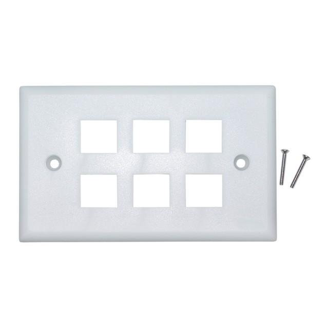 Keystone Wall Plate, White, 6 Hole, Single Gang