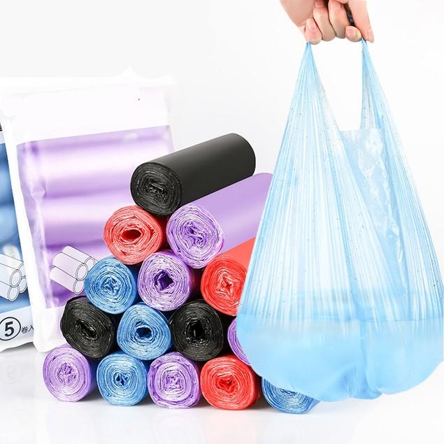 100 Pcs Vest-style Garbage Bag Disposable(Random Color)