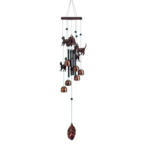 "26"" Bronze Cats Decorative Wind Chimes - Pine Wood, Aluminum and Iron"
