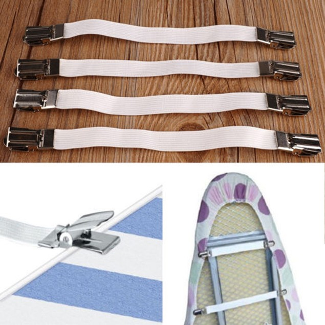 4pc Metal Bed Sheet Fasteners Mattress Strong Clip Grippers Elastic Holder