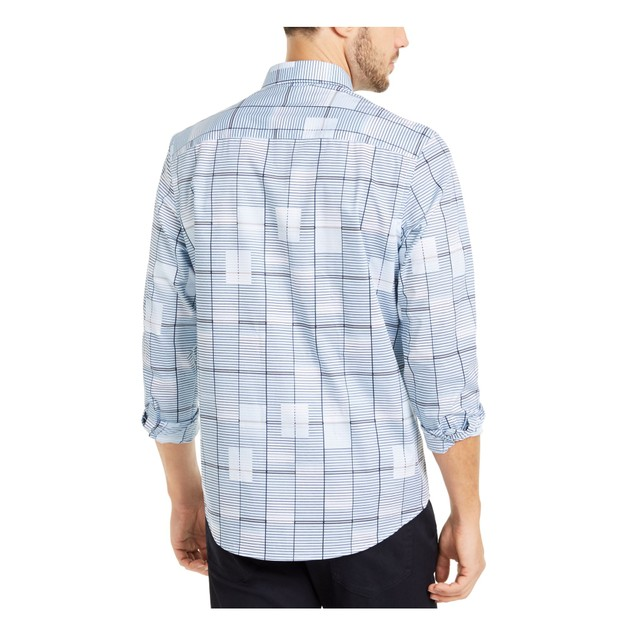 Alfani Men's Classic-Fit Geo-Print Shirt Blue Size Medium