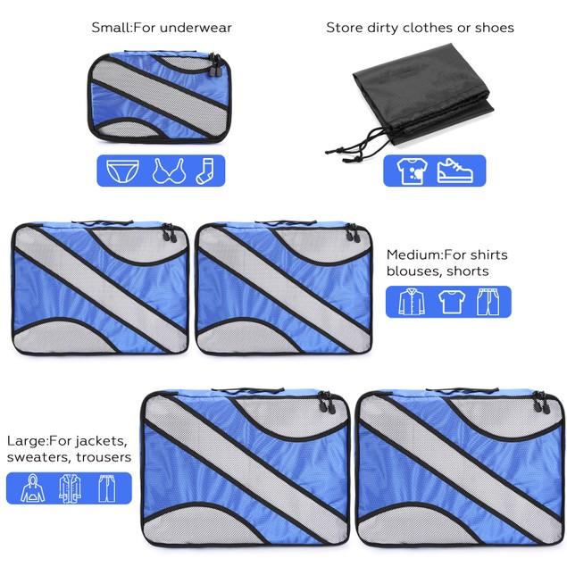 COMPRESSION PACKING CUBES SET 6PCS EXTENSIBLE STORAGE MESH BAGS (BLUE)