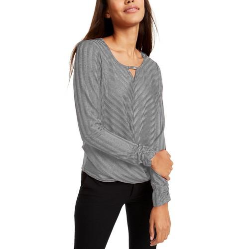 BCX Women's  Rhinestone-Neckline Striped Top Gray Size Small