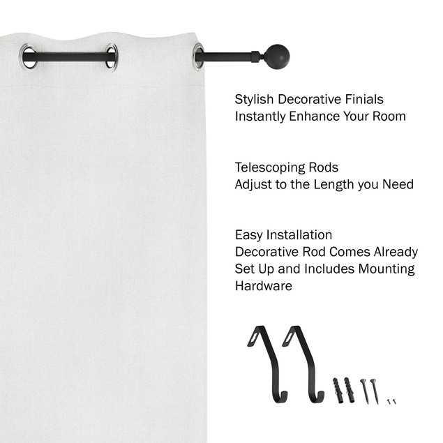 Curtain Rod- Decorative Ball Finials & Hardware48-84-Inch