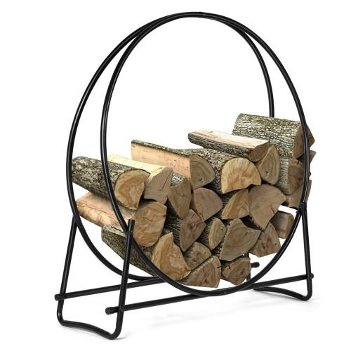 Costway 40-Inch Tubular Steel Log Hoop Firewood Storage Rack Holder Round D