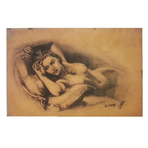 Naked Rose Sketch Drawing Poster 11 x 17