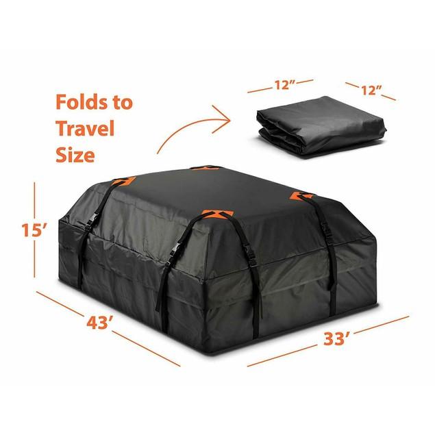 Zone Tech Car Rooftop Waterproof Travel Cargo Bag 15 ft Organizer Carrier