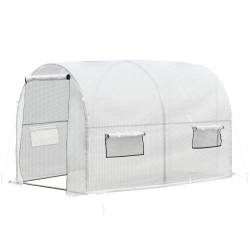 Large Outdoor Polytunnel Hot House / Nursery with 6 Roll-Up Windows, White