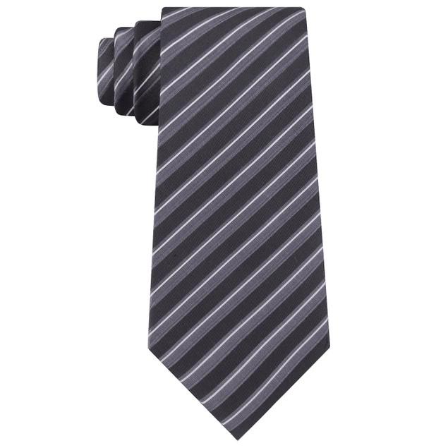 Kenneth Cole Reaction Men's Block Stripe Slim Tie Black Size Regular