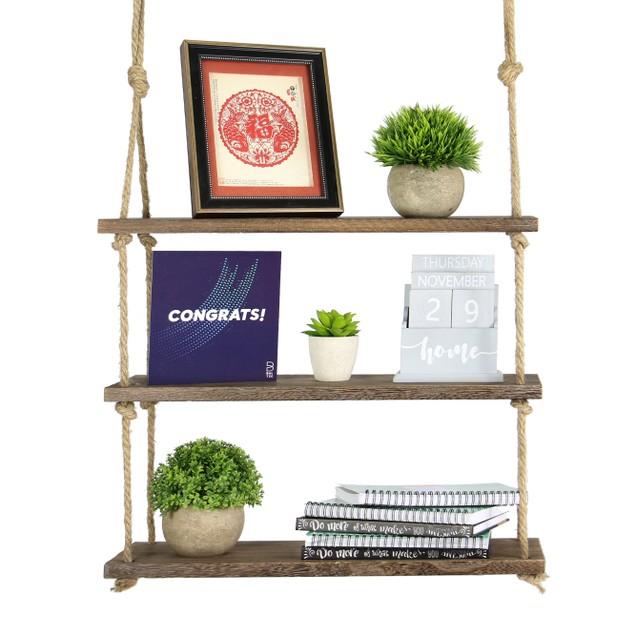 Wooden Hanging Shelf | MandW 3 Tier