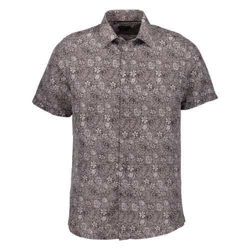 Rosso Milano Modern Fit Short Sleeve Brown Paisley Floral Dress Shirt