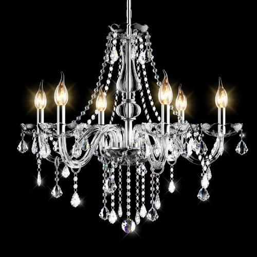 Costway Elegant Crystal Chandelier Modern 6 Ceiling Light Lamp Pendant Fixt