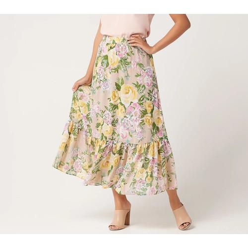 Susan Graver Regular Printed Chiffon Tiered Maxi Skirt, Large, White/Coral